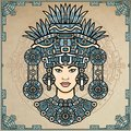 Animation portrait of the pagan goddess based on motives of art Native American Indian. Color decorative drawing.