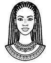 Animation portrait of the young African woman. Monochrome linear drawing. Royalty Free Stock Photo