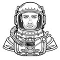 Animation portrait of the young attractive man of the astronaut in a space suit.