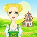 Animation portrait young beautiful girl in an ancient Bavarian dress. Royalty Free Stock Photo