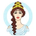 Animation portrait of the young beautiful Greek woman in ancient clothes. Decorative circle.