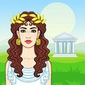 Animation portrait of the young beautiful Greek woman in ancient clothes in a laurel wreath.