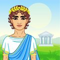 Animation portrait of the young man in traditional clothes of Ancient Greece.