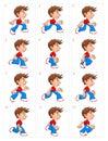 Animation of running boy, twelve frames