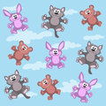 Animation small animals bear cub rabbit kitten vector illustration Stock Photos