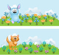 Animation small animals nice ridiculous on a blossoming lawn vector illustration Stock Photos