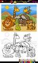 Animaux sauvages de bande dessinée colorant la page Photo libre de droits