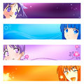 Anime banners | Set 1 Royalty Free Stock Photo