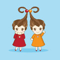 Anime cartoon girls two little sister in style Stock Image