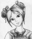 Anime elf girl sketch Royalty Free Stock Photo