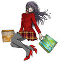 Anime girl shopping in christmas Royalty Free Stock Image