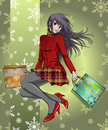 Anime girl shopping in christmas - with background Royalty Free Stock Photo
