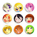 Anime girls badges | Set 2 Stock Photo