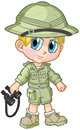 Anime Safari Boy Vector Cartoon Royalty Free Stock Photo