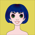 Anime sexy girl with blue bob hairstyle
