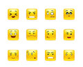 Anime stickers in a small set beautiful happy yellow square smiley of Royalty Free Stock Images