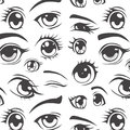 Anime style seamless pattern eyes Royalty Free Stock Photo