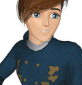 Anime style teenager posing thoughtfully Royalty Free Stock Images