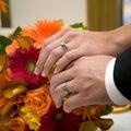 Anéis e ramalhete de casamento Imagens de Stock