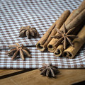 Anise and cinamon pn cross table cloth Stock Image