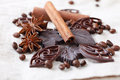Anise cinnamon chocolate and coffee beans composition of Stock Photography