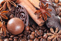 Anise cinnamon chocolate and coffee beans composition of Royalty Free Stock Photo