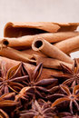 Anise and cinnamon creative combination。 Royalty Free Stock Image