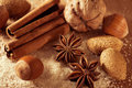 Anise cinnamon and nuts on the cane sugar Royalty Free Stock Photography