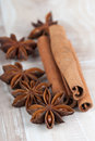 Anise and cinnamon star sticks Royalty Free Stock Images