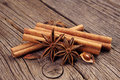 Anise and cinnamon on wooden background close up Stock Images