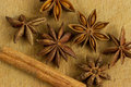 Anise close up of stars and cinnamon stick Stock Photo
