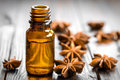 Anise oil in a bottle and stars Stock Images