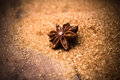 Anise star on brown cane sugar on wooden background christmas s spices close up Stock Photo