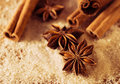 Anise stars and cinnamon on the cane sugar Stock Photography