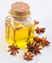 Aniseed oil with nuts Royalty Free Stock Photo