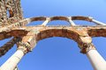 Anjar the triple arches of the royal palace lebanon remains at ancient umayyad city ruins in heart beqaa valley Royalty Free Stock Photo