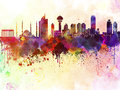 Ankara skyline in watercolor background artistic abstract Stock Photos