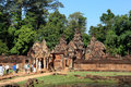 Ankgor wat cambodia tourist enter one of the temples in the angkor region Stock Photos