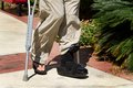 Ankle Brace Crutches Stock Photo