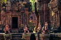 Ankor the lost city banteay srei of relic in autumn days Royalty Free Stock Photo