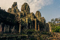 Ankor the lost city bayon of angkor thom of relic in autumn days Stock Images