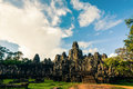 Ankor the lost city bayon of relic in autumn days Royalty Free Stock Photo