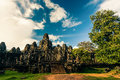 Ankor the lost city bayon of relic in autumn days Royalty Free Stock Image