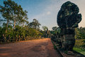 Ankor the lost city southern gate of angkor thom of relic in autumn days Stock Images