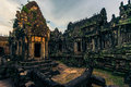 Ankor the lost city sunset of banteay samre of relic in autumn days Royalty Free Stock Images