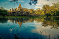 Ankor the lost city sunset of bayon of relic in autumn days Royalty Free Stock Images