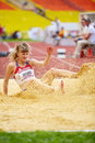 Anna krylova in sandpit moscow jun at grand sports arena of luzhniki oc during international athletics competitions iaaf world Stock Photo