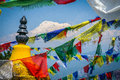 Annapurna and flags Royalty Free Stock Photo