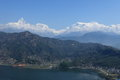 Annapurna range in nepal at pokhara Stock Photos