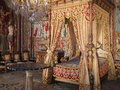Anne of austria room in fontainebleau castle bed chamber queen consort louis xiii château de caste intensely decorated Royalty Free Stock Photos